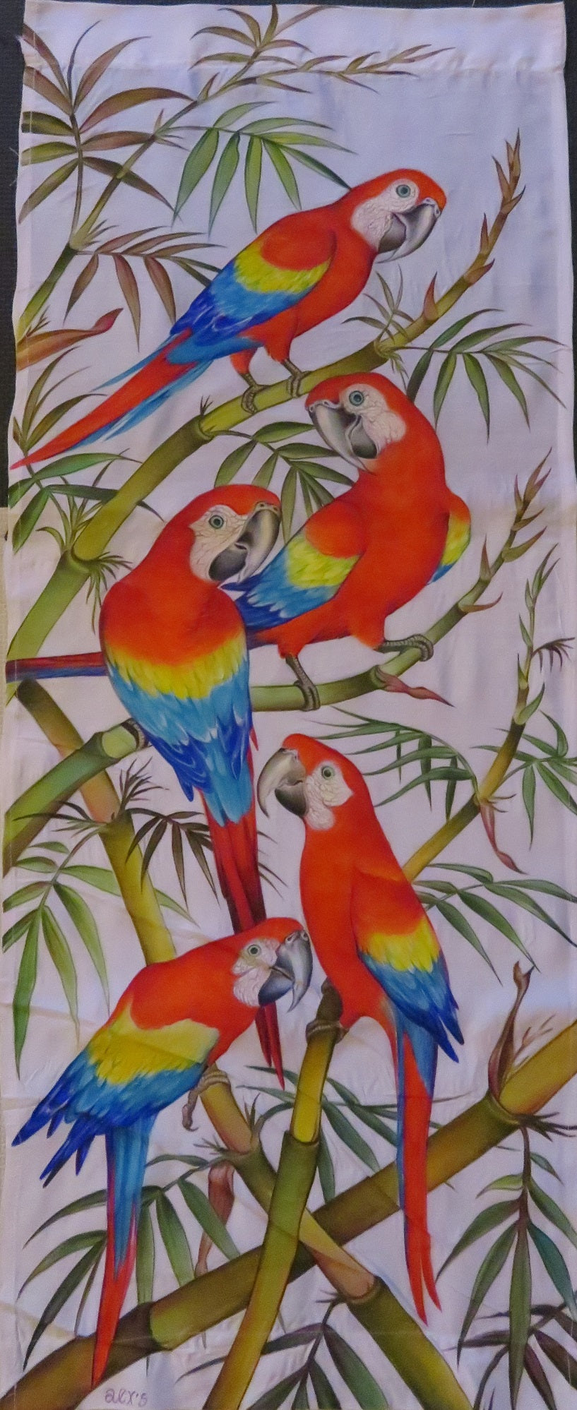 Scarlet Macaws original painting - acrylic on rayon - no framing needed!