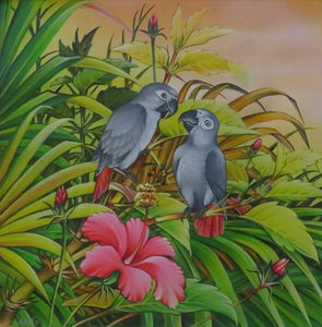 2 African Greys Original Painting - Acrylic on Canvas