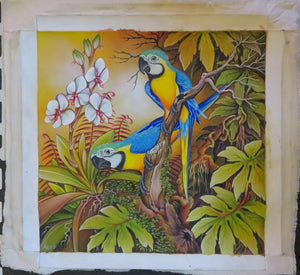 2 Blue & Gold Macaws Original Acrylic on Canvas painting ready to be framed