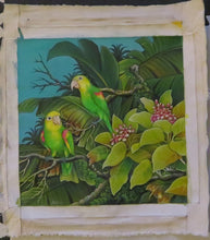 Double Yellow Amazons in a tropical setting - acrylic on canvas original painting