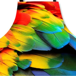 Close-up of macaw feather kitchen apron