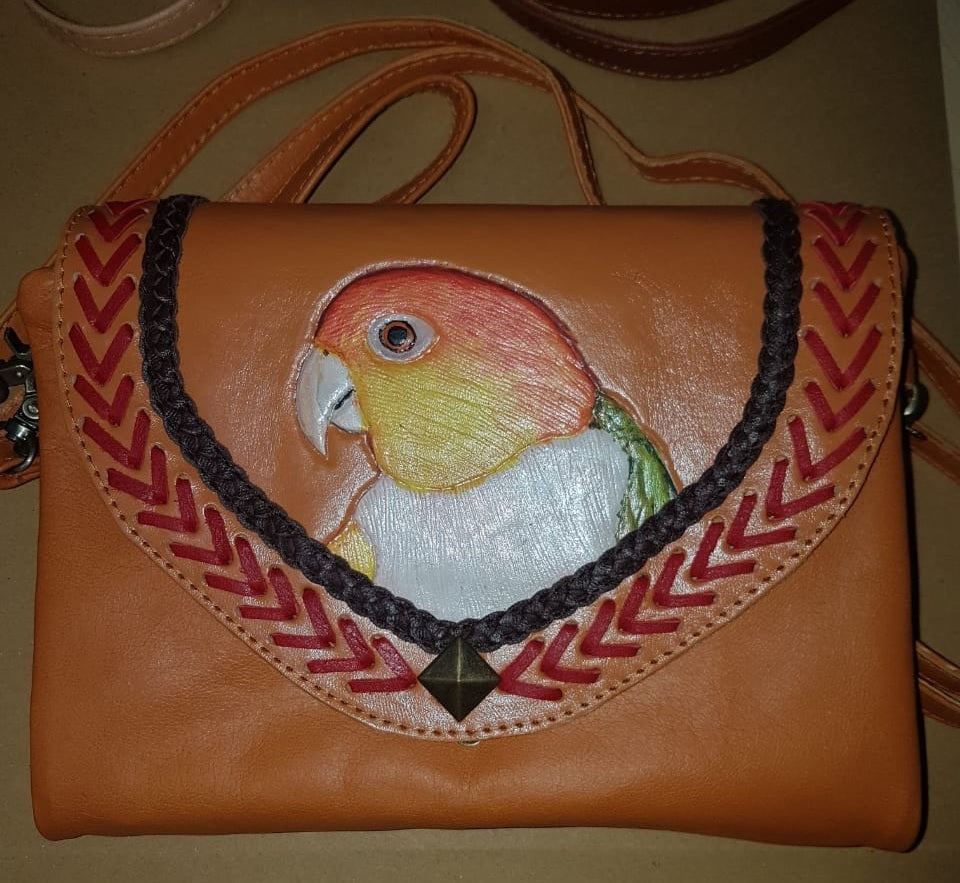 White-bellied caique parrot hand-tooled, hand-painted leather clutch wallet purse in tan