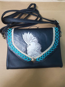 Umbrella cockatoo parrot hand-tooled, handpainted leather clutch wallet purse in black