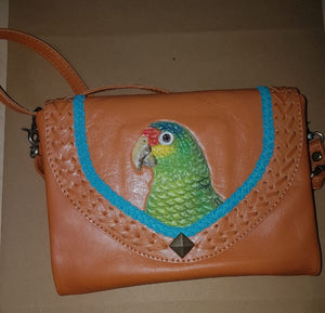 Red-lored Amazon parrot hand-tooled, hand-painted lady's clutch purse wallet