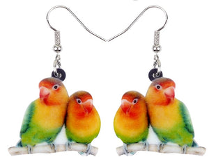 Cute Fisher's Lovebirds pierced earrings