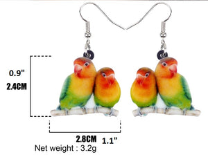 Cute Fishers lovebird pierced earrings & measurements