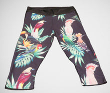 Tropical parrots and birds exercise yoga capri pants leggings