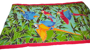 Tropical Macaw parrots flying hand-painted batik sarong / pareo