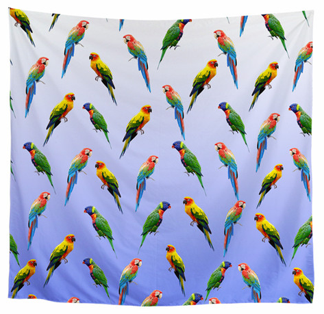 Sun conures, rainbow lory and greenwing macaws on a pretty blue scarf. Great gift idea for the parrot lover!