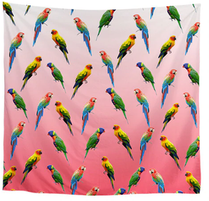 Rainbow lories, sun conures & greenwing macaws adorn this pretty scarf with a red background. A great gift for parrot people!