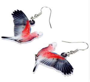 Galah Rose-breasted cockatoo pierced earrings