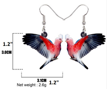 Rose-breasted cockatoo parrot pierced earrings & measurements