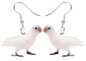 Goffin's cockatoo parrot pierced drop earrings