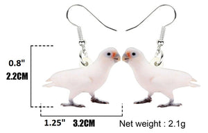 Goffin's cockatoo parrot pierced drop earrings - measurements