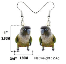 Green cheeked conure acrylic earrings - size chart