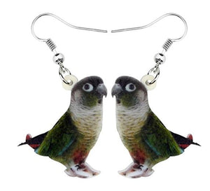 Green-cheek Conure Pierced Drop Earrings - Sideways position