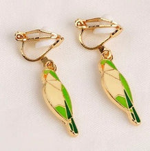 Clip-on Enamel Quaker Parrot Monk Parakeet Earrings