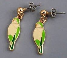 Enamel Quaker Parrot Pierced Earrings Gift Idea