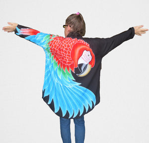 Greenwing macaw parrot hand-painted batik jacket