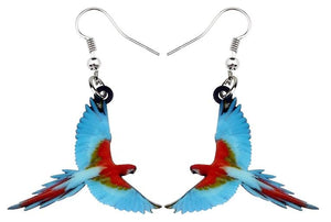 Flying Greenwing macaw parrot acrylic pierced earrings