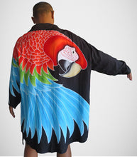 Greenwing Macaw hand-painted batik wearable art women's jacket