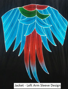 Approved Greenwing macaw design for the sleeve of the women's jacket.