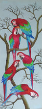 Unfinished Green wing Macaw parrots original acrylic on canvas wall-hanging