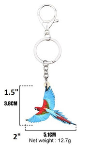 Dimensions of Greenwing macaw parrot key ring key chain