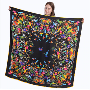 Hummingbird silk-blend scarf - black - great gift idea!