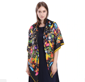Wearing the silk hummingbird scarf as a shawl - black background - gift it to someone special!