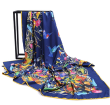 Huge silk hummingbird scarf with blue background - a great gift!