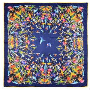 Silk blend over-sized hummingbird scarf in blue- excellent gift for the bird lover!