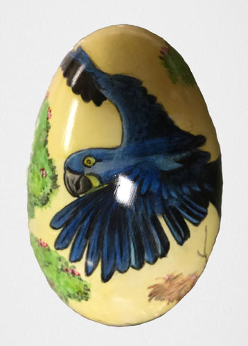 Hand-painted Swan Egg of a Hyacinth Macaw