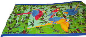 Flying Macaws in a Tropical setting - hand-painted batik sarong