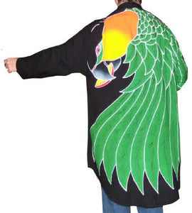 Black-headed Caique parrot hand-painted batik jacket