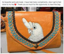 Customer review of Goffin's cockatoo hand-tooled hand-painted leather clutch purse