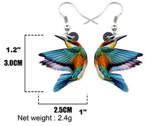 Sizing of Kingfisher acrylic pierced earrings