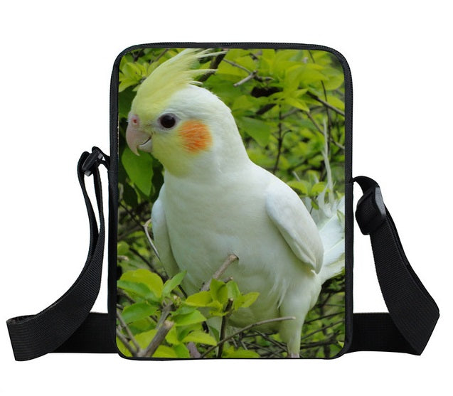 Lutino Cockatiel Cross-body Bag with adjustable strap and an interior and exterior pocket