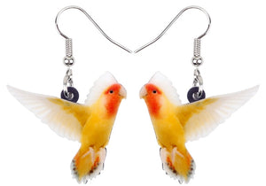 Cute lutino peach-face lovebird pierced earrings