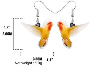 Lutino mutation peach face lovebird pierced earrings and dimensions