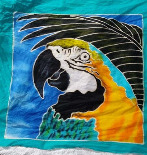 Handpainted batik Blue & Gold macaw pillow cover