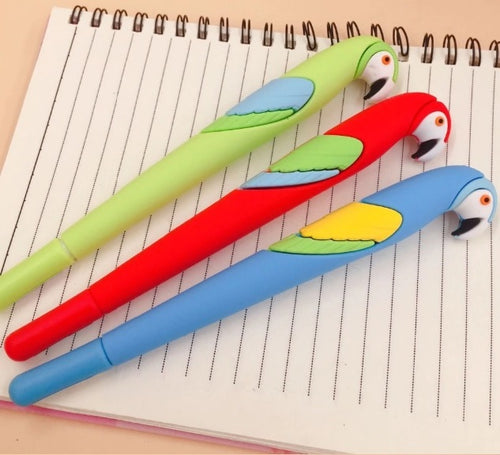 Cute macaw gel pens available in 3 colors