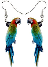 Cute macaw parrot earrings - full profile