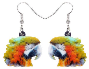 Cute macaw parrot heads pierced earrings