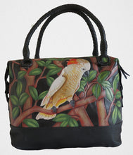 Moluccan Cockatoo hand-tooled, hand-painted leather bag in black