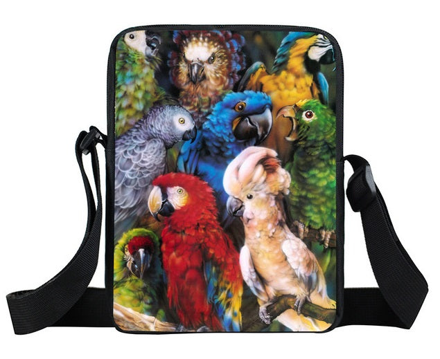 Cross-body bag featuring a variety of parrots