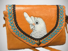 Goffin's cockatoo parrot hand-tooled, hand-painted leather clutch purse with cross-body strap
