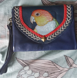 White-bellied caique parrot hand-tooled, hand-painted leather clutch wallet purse on navy blue