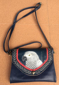 African Grey parrot hand-tooled, handpainted leather clutch purse wallet in navy blue