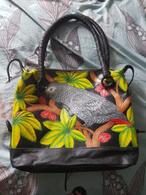 Handtooled & handpainted leather African Grey parrot bag in black